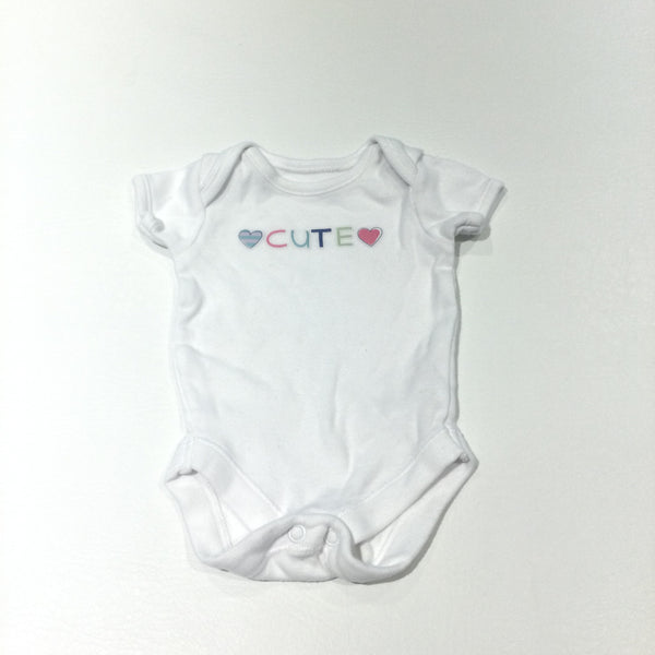 'Cute' Hearts White Short Sleeve Bodysuit - Girls Tiny Baby