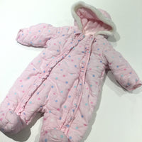 Spotty Pink Corduroy Padded Pramsuit with Hood - Girls Newborn - Up To 1 Month