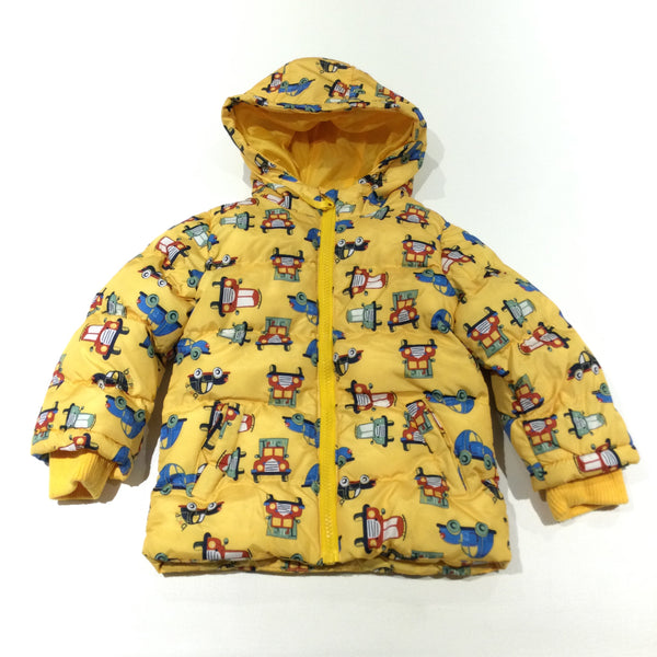 Cars Colourful Yellow Showerproof Padded Coat with Hood - Boys 18-24 Months
