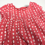 Dark Coral & White Patterned Jersey Short Sleeve Tunic Top - Girls 3-6m