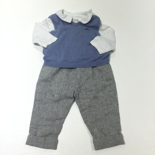 Grey Tweedy Trousers, Blue Knitted Tank Top & White & Grey Checked Long Sleeve Bodysuit Set - Boys 3-6 Months
