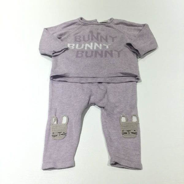 'Bunny Bunny Bunny' Rabbit Lilac Knitted Lightweight Jumper & Leggings Set - Girls 3-6 Months