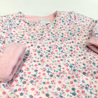 Pastel Flowers Jersey Lightweight Jacket - Girls 0-3m