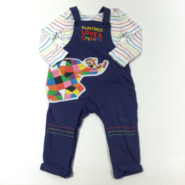 'Happiness Love & Colours' Elmer The Elephant Appliqued & Embroidered Navy Jersey Dungarees & Striped White Long Sleeve Bodysuit Set - Boys/Girls 9-12 Months