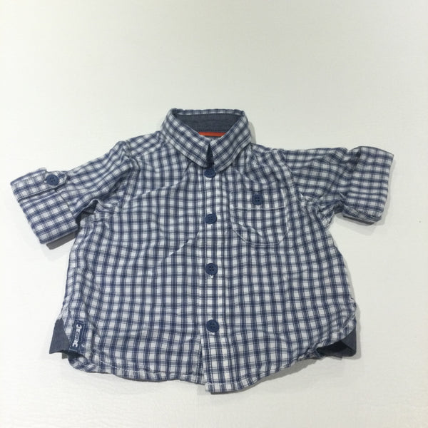 Blue & White Checked Short Sleeve Cotton Shirt - Boys 3-6 Months