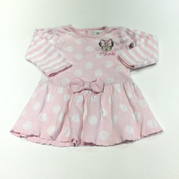 'Minnie' Minnie Mouse Embroidered Pink & White Stripes & Spots Knitted Dress - Girls 0-3m