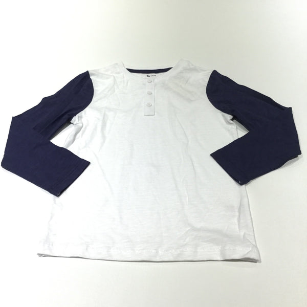 White & Navy Long Sleeve Top - Boys 4-5 Years