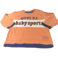 'Baby Sports' Orange, Cream & Navy Long Sleeve Top - Boys 6-9 Months