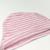 Pink & White Striped Jersey Hat - Girls 0-6m