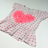 3D Flowers Heart Bright Pink Spots & White Tunic Top  - Girls 3-6m