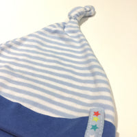 Blue & White Striped Knotted Jersey Hat - Boys 6-9 Months