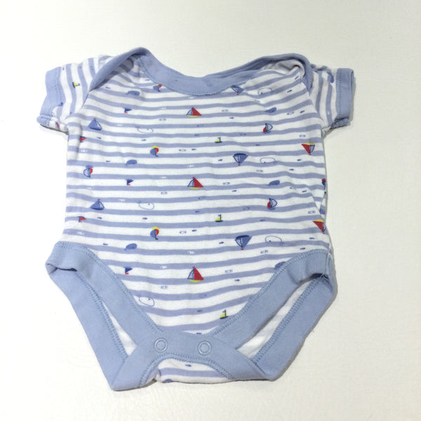 Sailing Boats Blue & White Striped Short Sleeve Bodysuit - Boys 0-3 Months