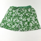 Flowers White & Green Swimming Shorts - Boys 9-12 Months