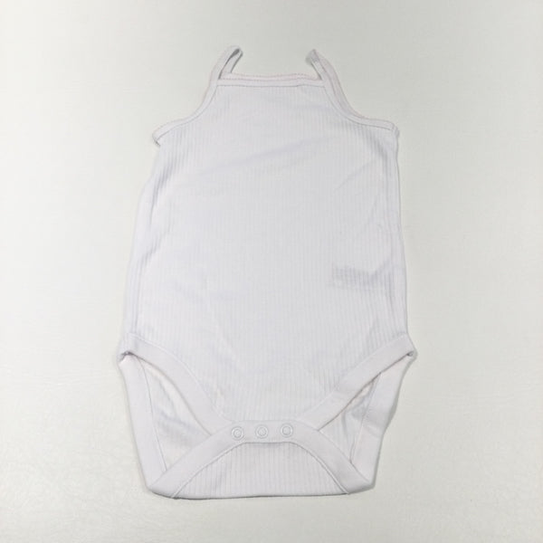 White Ribbed Sleeveless Bodysuit - Girls 18-24 Months