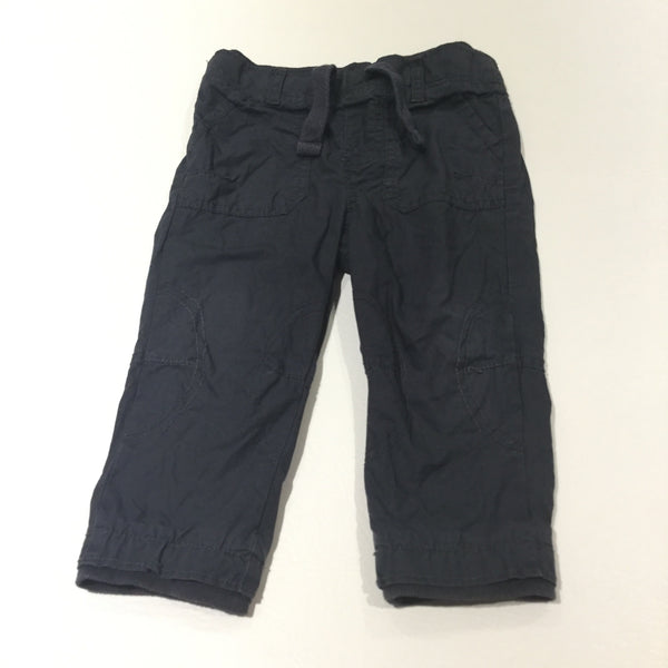 Charcoal Grey Lined Cotton Trousers - Boys 9-12 Months