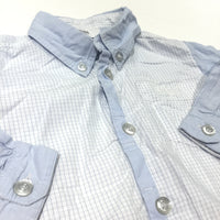 Boss Blue & White Checked Long Sleeve Cotton Shirt - Boys 9-12 Months