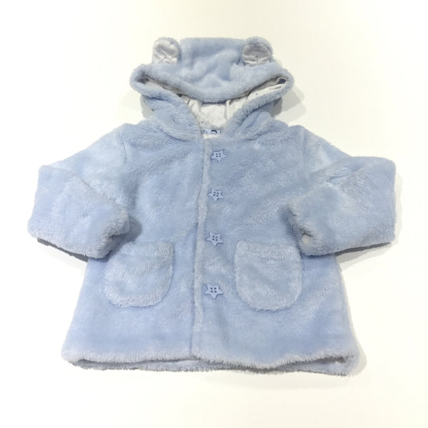 Light Blue Fleece Soft Coat with Hood & Ears - Boys 9-12 Months
