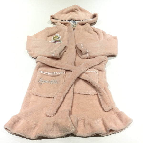 'Eat Sleep Dance' Ballerina Peach Fleece Dressing Gown with Hood & Attached Belt - Girls 5-6 Years
