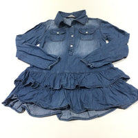Denim Effect Cotton Long Sleeve Shirt Tunic Top - Girls 5-6 Years
