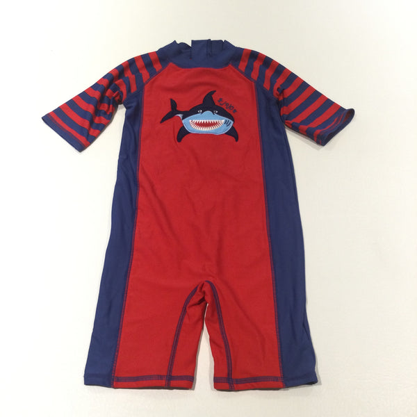 'Jojo' Shark Appliqued Red & Navy Sun / Beach Suit - Boys 2-3 Years
