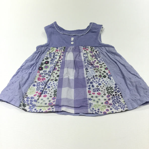 Patchwork Broderie, Gingham & Flowery Lilac Cotton & Jersey Tunic Top  - Girls 12-18 Months