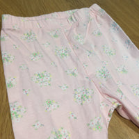 Flowers Pale Pink Leggings with Bow Detail - Girls 0-3m