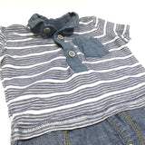 Navy & White Striped T-Shirt & Attached Denim Effect Shorts Romper - Boys Newborn