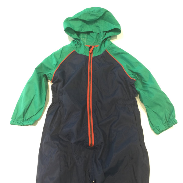 Navy & Green Puddlesuit with Hood - Boys 3-4 Years