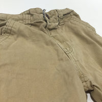Beige Cotton Twill Shorts with Adjustable Waistband - Boys 18-24 Months