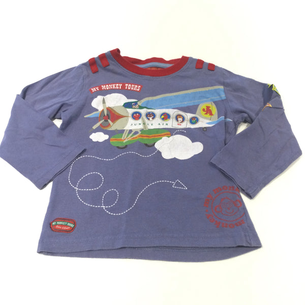 'My Monkey Tours' Aeroplane Red & Purple Long Sleeve Top - Boys 3-4 Years