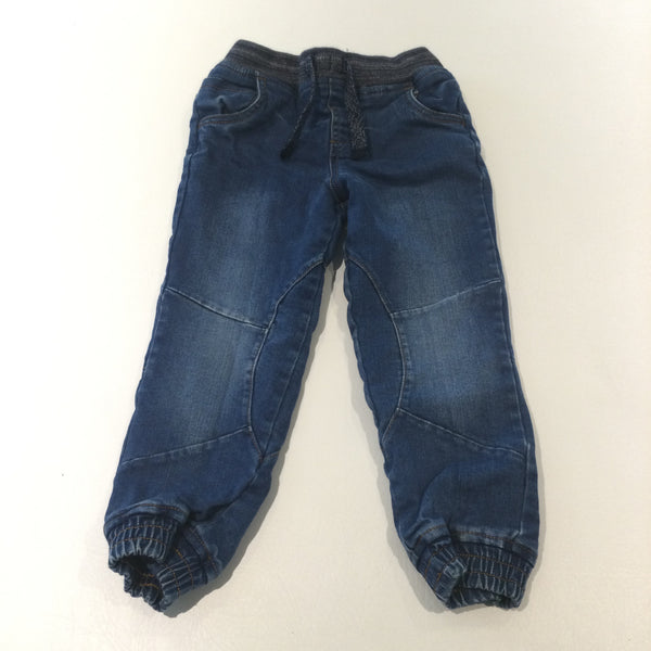 Dark Blue Lined Denim Pull On Jeans - Boys 3-4 Years
