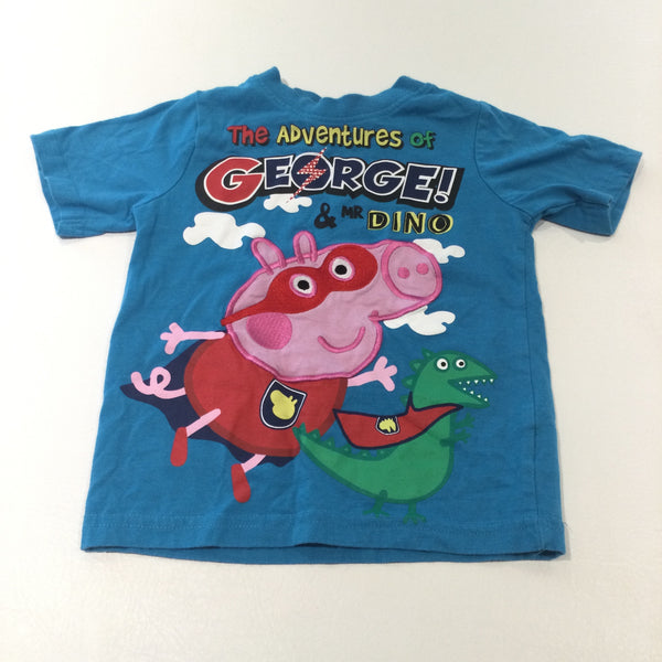 'The Adventures of George…' Appliqued Peppa Pig George Pig Blue T-Shirt - Boys 3-4 Years