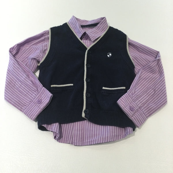Purple & White Striped Cotton Shirt & Navy Knitted Tank Top Cardigan Set - Boys 3-4 Years