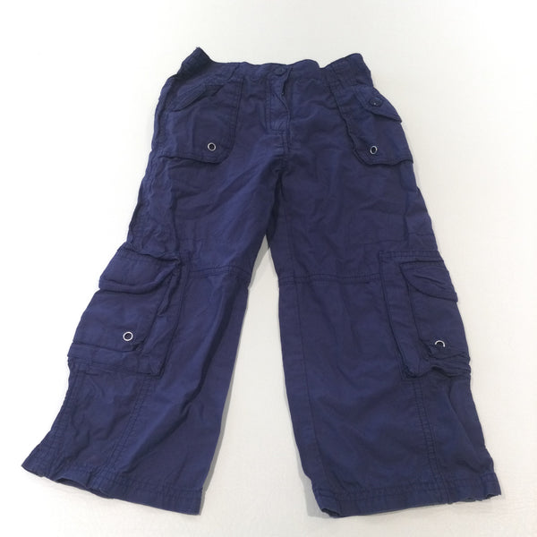 Navy Lightweight Cotton Cargo Trousers - Girls 4 Years