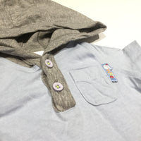 'Woof' Blue & Grey Hoodie T-Shirt - Boys Newborn