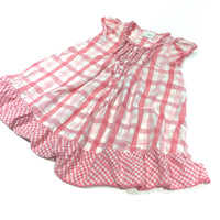 Pink & White Gingham Cotton Dress - Girls 18-24 Months