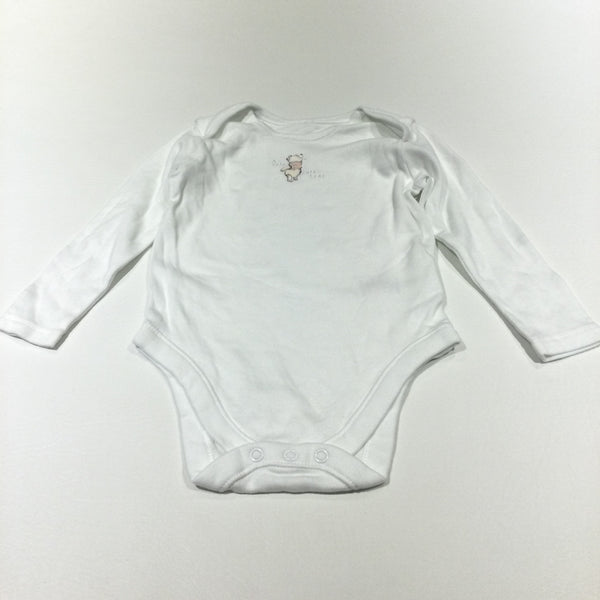 'A Very Cute Bear' Winnie The Pooh White Long Sleeve Top - Girls 9-12 Months
