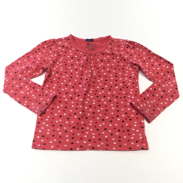 Coral Pink Spotty Long Sleeve Top - Girls 3-4 Years