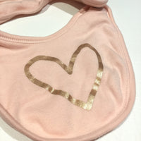 Rose Gold Heart Coral Pink Bib - Girls Newborn