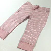 Pink & White Spots Lightweight Jersey Trousers - Girls 6-9 Months