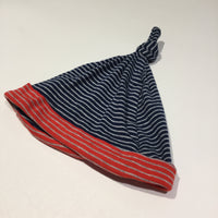 Navy, Grey & Red Striped Knotted Jersey Hat - Boys 9-12m