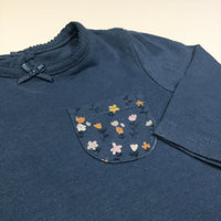 Flowers Pocket Petrol Blue Long Sleeve Top - Girls 0-3m
