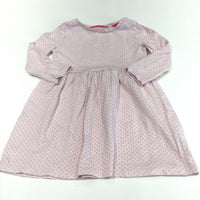 Pale Pink Spotty Long Sleeve Jersey Dress - Girls 12-18m