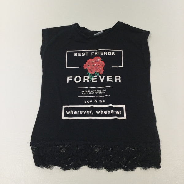 'Best Friends Forever' Sequin Roses Black & White T-Shirt with Lacey Hem - Girls 5-6 Years