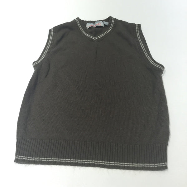 Brown Knitted Tank Top - Boys 3-4 Years