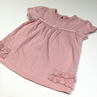 Pink Short Sleeve Tunic Top with Frill Detail - Girls 3-6m