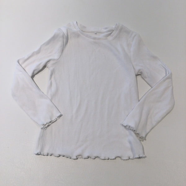 White Ribbed Long Sleeve Top - Girls 4-5 Years