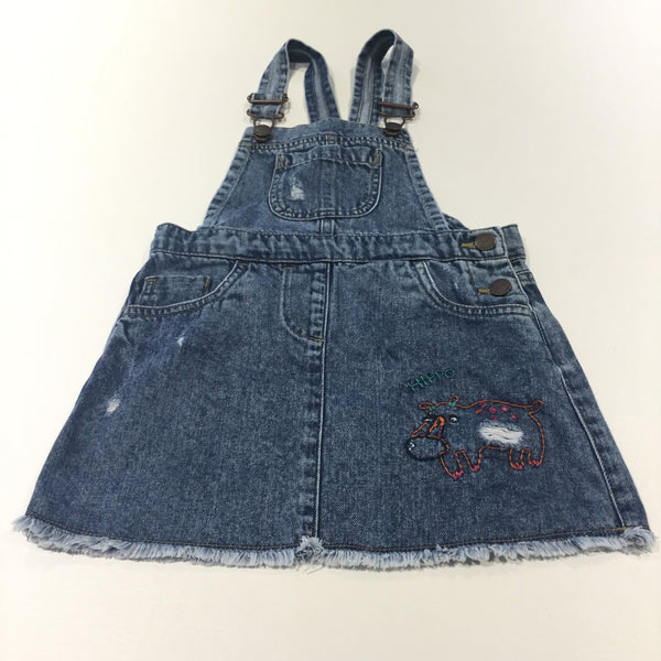 'Hippo' Embroidered Mid Blue Distressed Denim Dungaree Dress - Girls 3-4 Years