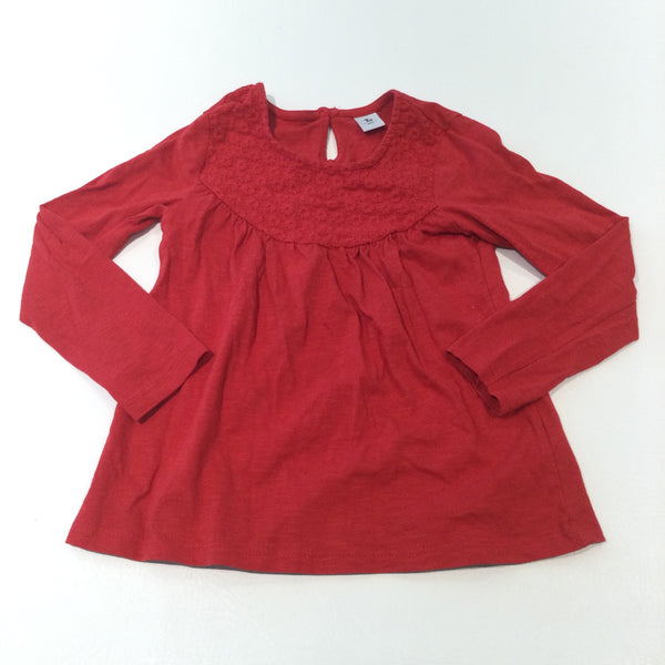 Flowers Embroidered Red Long Sleeve Top - Girls 4-5 Years