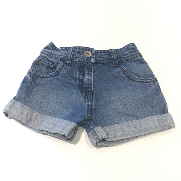 Mid Blue Denim Shorts with Adjustable Waistband - Girls 4-5 Years